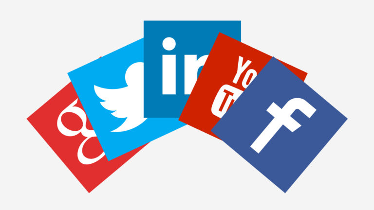 A semicircular arrangement of various social media icons. Negative dental social media reviews are becoming an increasing fact of life for most dentists.